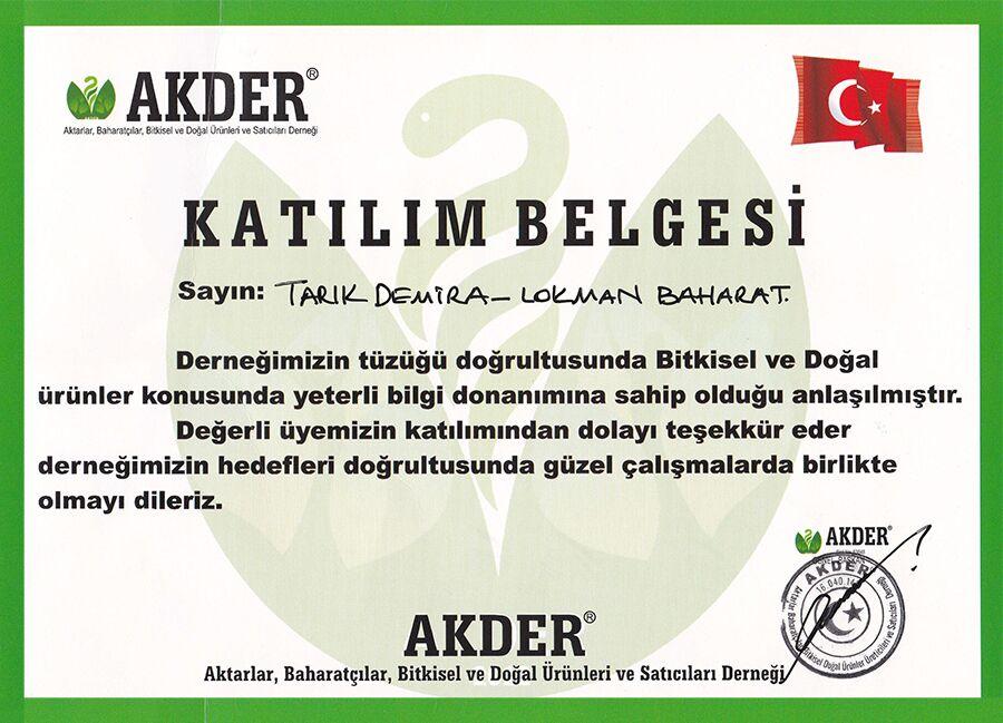 AKDER - Aktarlar, Baharatçılar, Bitkisel ve Doğal Ürünleri Satıcıları Derneği Belgesi