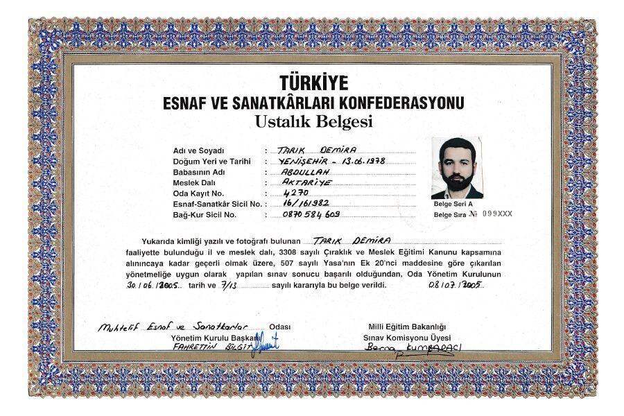 Türkiye Esnaf ve Sanatkârları Konfederasyonu Aktariye Ustalık Belgesi