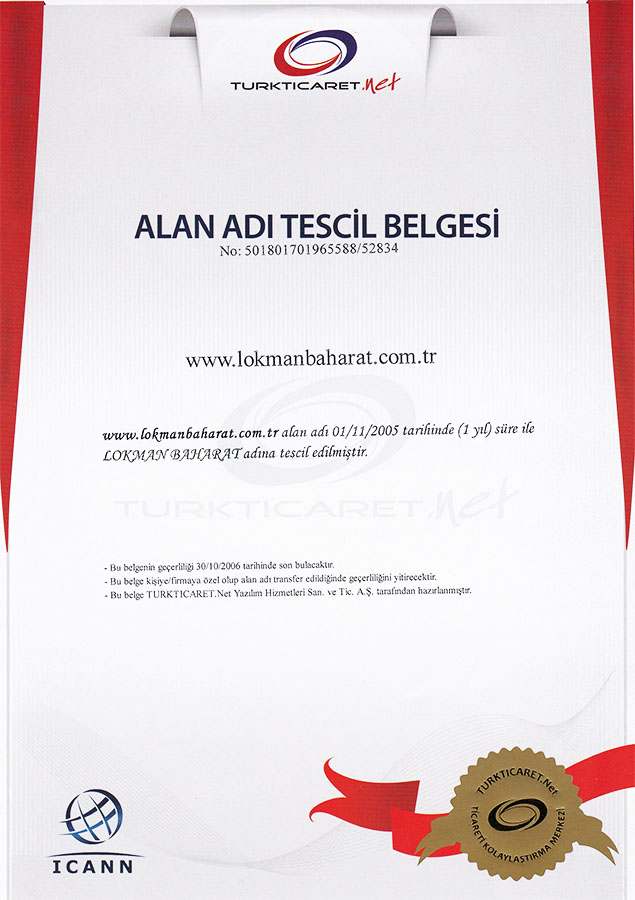 Lokmanbaharat.com.tr Alan Tescil Belgesi