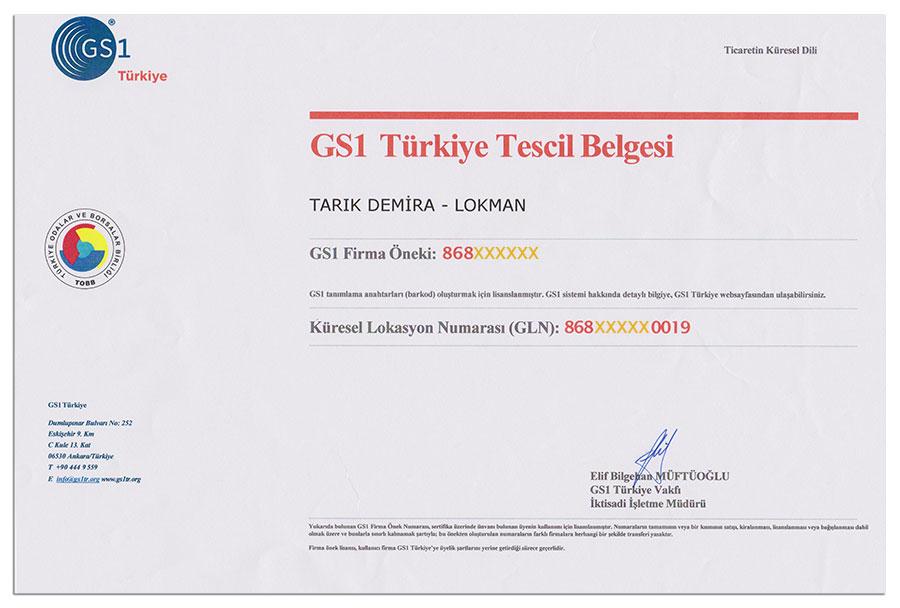 TOBB Türkiye Odalar ve Borsalar Birliği LokmanAVM GS1 Barkod Tescil Belgesi