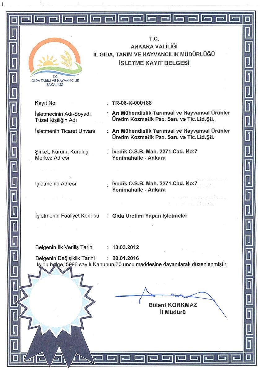 BALEN Gıda ve Tarım Bakanlığı İşletme Kayıt Belgesi