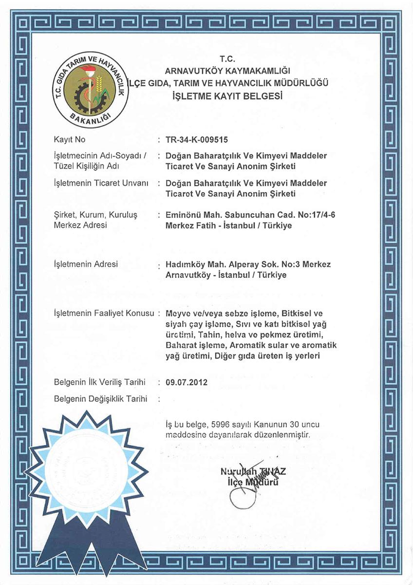 Doğan Baharatçılık Gıda ve Tarım Bakanlığı İşletme Kayıt Belgesi