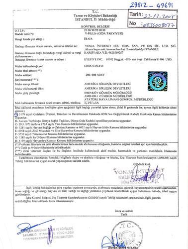V-PİLLS Gold Bitkisel 60 Kapsül Gıda ve Tarım Bakanlığı Uygunluk Belgesi
