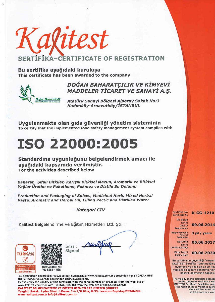 Doğan Baharatçılık Kalitest iso 22000:2005 gıda Güvenliği Yönetim Sistemi Sertifikası