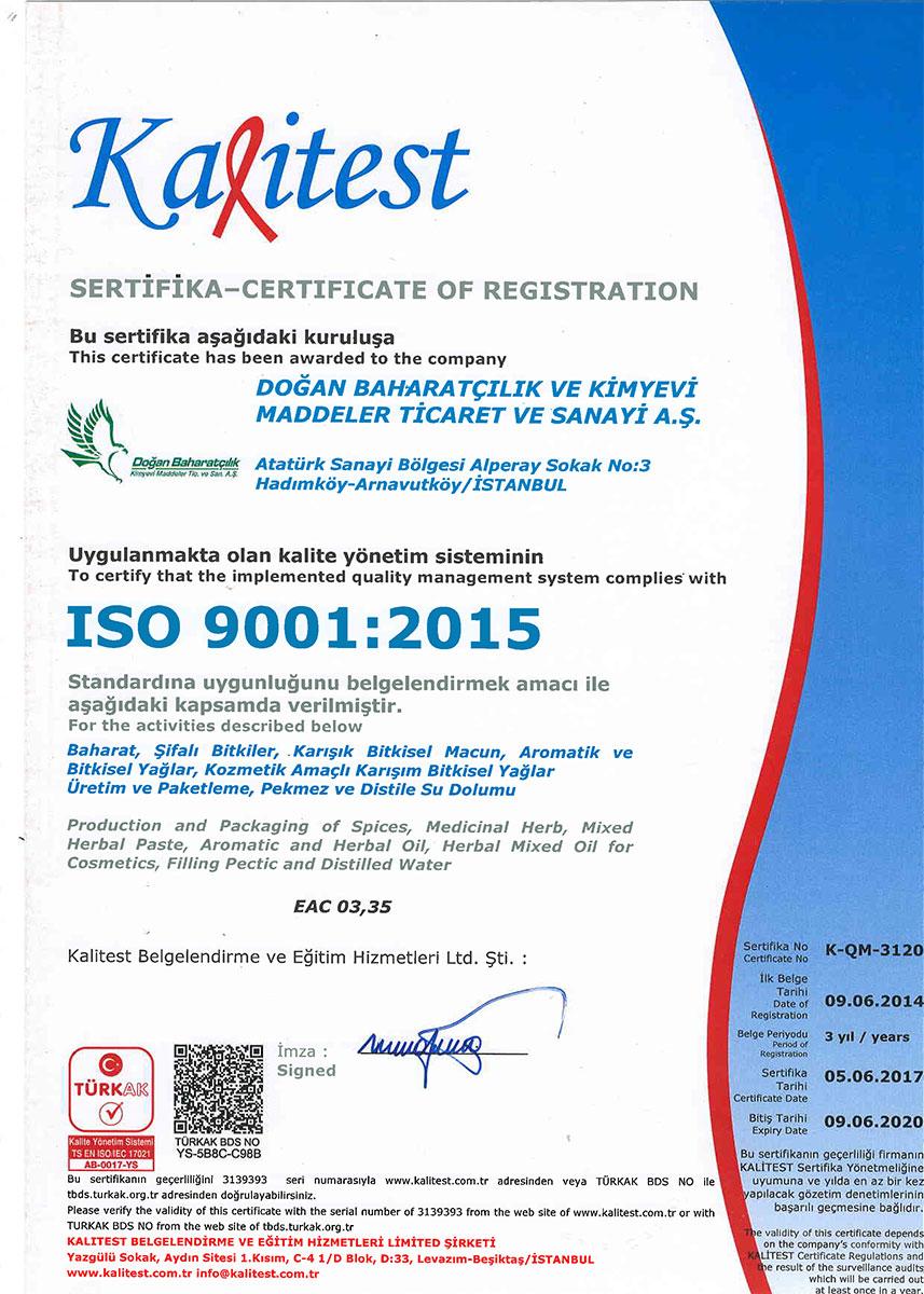 Doğan Baharatçılık Kalitest iso 9001:2015 Kalite Yönetim Sistemi Sertifikası
