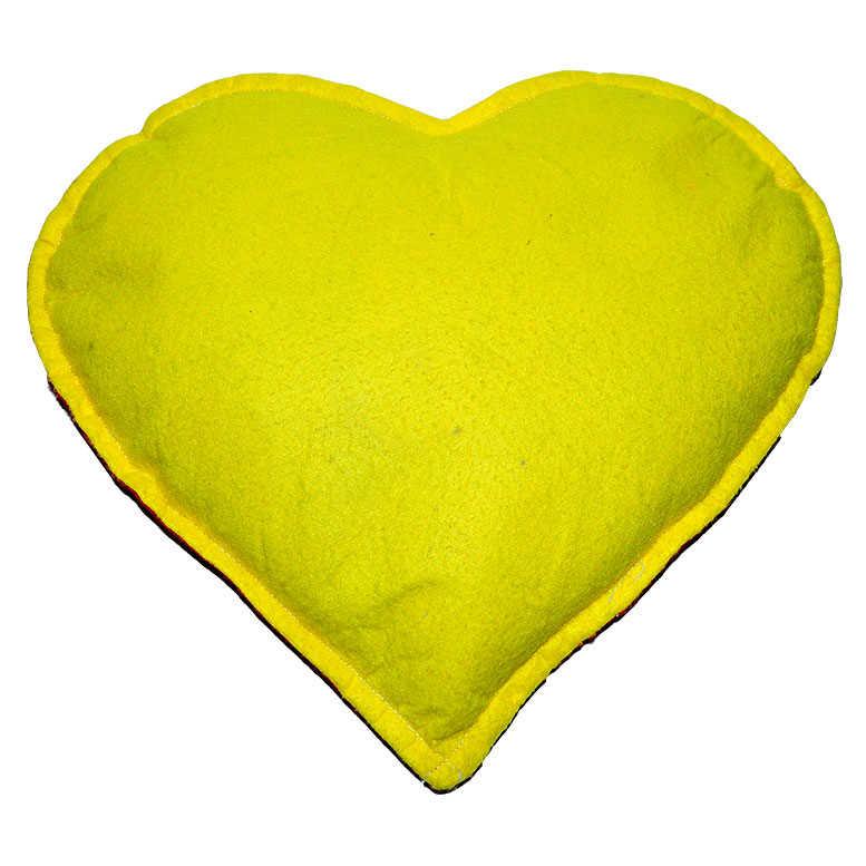Tuz Yastığı Kalp Desenli Sarı - Kırmızı