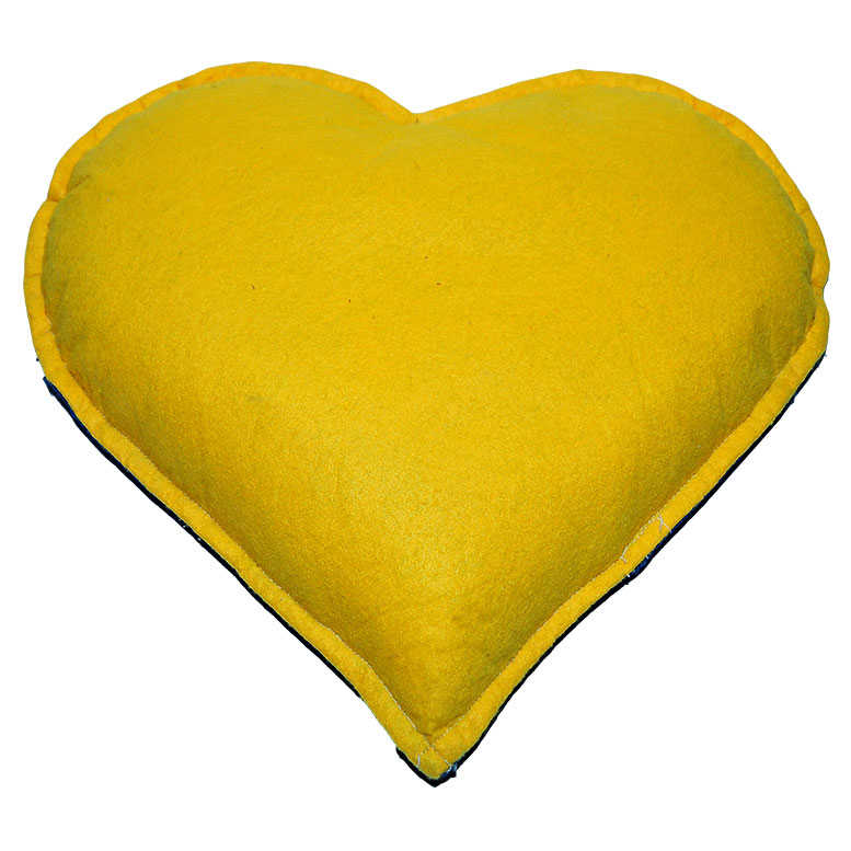 Tuz Yastığı Kalp Desenli Sarı - Larcivert