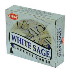Beyaz Adaçayı Kokulu 10 Konik Tütsü - White Sage - Thumbnail
