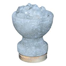 LokmanAVM - Çanak Şekilli Doğal Kaya Tuzu Lambası Çankırı Kablolu Ampullü Beyaz 1-2 Kg Görseli