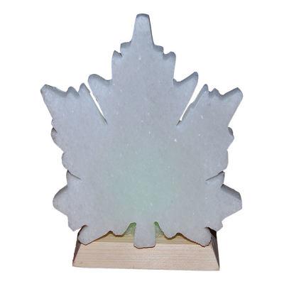 Çınar Yaprağı Şekilli Doğal Kaya Tuzu Lambası Kablolu Ampullü Beyaz 1-2 Kg