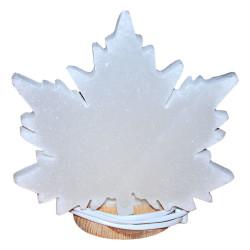 Çınar Yaprağı Şekilli Doğal Kaya Tuzu Lambası Kablolu Ampullü Beyaz 2-3 Kg - Thumbnail