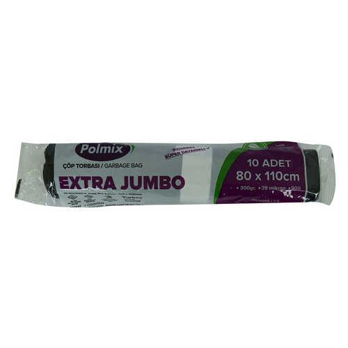 Çöp Torbası Extra Jumbo Boy 80x110Cm 300Gr 39Mikron 90Lt Siyah Rulo 10 Adet