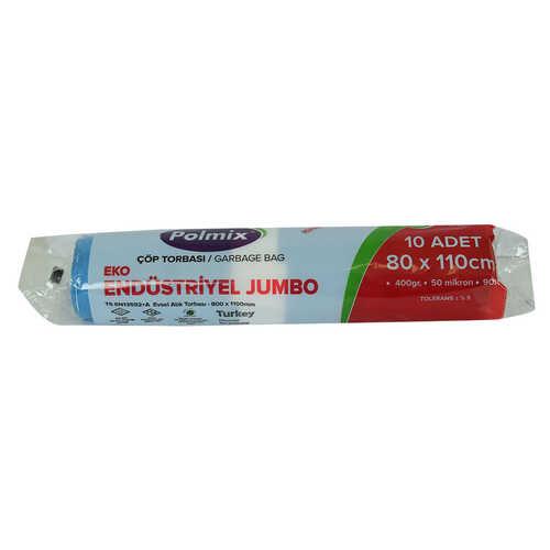 Çöp Torbası Jumbo Boy 80x110Cm 400Gr 50Mikron 90Lt Mavi Rulo 10 Adet