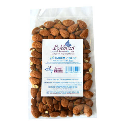 Doğal Çiğ Tatlı Badem 100 Gr Paket