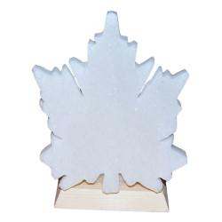 LokmanAVM - Doğal Çınar Yaprağı Desenli Kaya Tuzu Lambası Kablolu Ampullü Beyaz 1-2 Kg Görseli