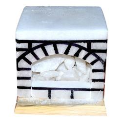LokmanAVM - Doğal Şömine Kaya Tuzu Lambası Kablolu Ampullü Beyaz 17X17 Görseli