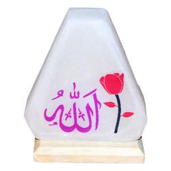 Doğal Üçgen Desenli Allah Lafzı Logolu Kaya Tuzu Lambası Kablolu Ampullü Beyaz 1-2 Kg - Thumbnail