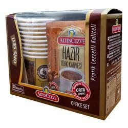 Hazır Türk Kahvesi Orta Şekerli 10 Pkt + 10 Bardaklı Ofis Seti - Thumbnail
