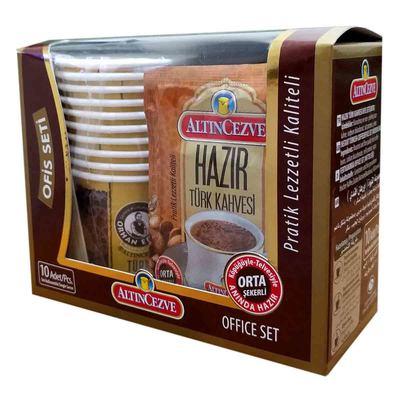 Hazır Türk Kahvesi Orta Şekerli 10 Pkt + 10 Bardaklı Ofis Seti