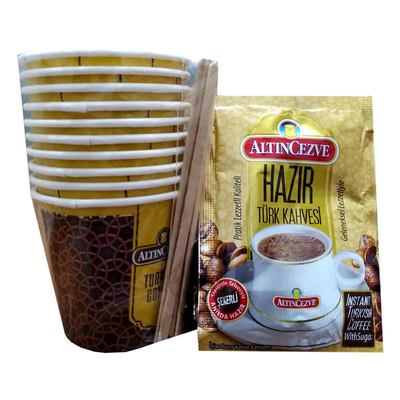 Hazır Türk Kahvesi Şekerli 10 Pkt + 10 Bardaklı Ofis Seti