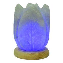 LokmanAVM - Kabartma Lale Desenli Doğal Kaya Tuzu Lambası Kablolu Ampullü Beyaz 1-2 Kg Görseli