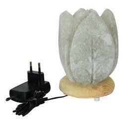 Kabartma Lale Desenli Doğal Kaya Tuzu Lambası Kablolu Ampullü Beyaz 1-2 Kg - Thumbnail