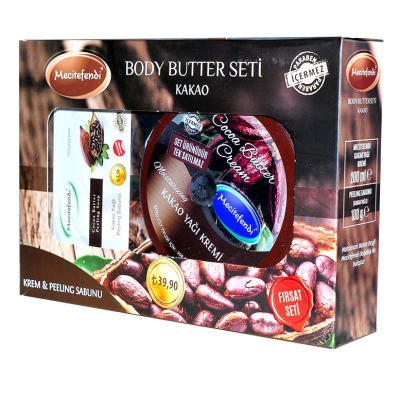 Kakao Yağlı Vücut Bakım Seti - Krem & Peeling Sabunu