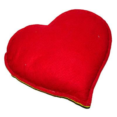 Kalp Desenli Doğal Kaya Tuzu Yastığı Sarı - Kırmızı 2-3 Kg