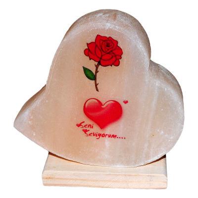 Kalp Desenli Gül Kalp Logolu Doğal Kaya Tuzu Lambası Kablolu Ampullü Beyaz 2-3 Kg