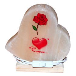 Kalp Desenli Gül Kalp Logolu Doğal Kaya Tuzu Lambası Kablolu Ampullü Beyaz 2-3 Kg - Thumbnail