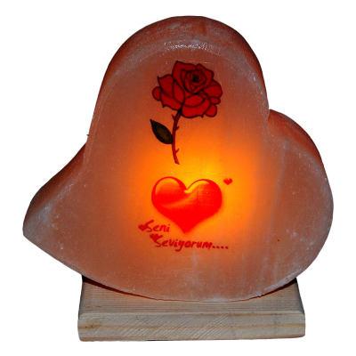 Kalp Desenli Gül Kalp Logolu Kaya Tuzu Lambası 2-3Kg