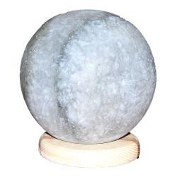 LokmanAVM - Küre Şekilli Doğal Kaya Tuzu Lambası Kablolu Ampullü Beyaz 3-4 Kg Görseli