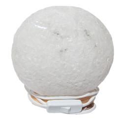 Küre Şekilli Doğal Kaya Tuzu Lambası Kablolu Ampullü Beyaz 5-6 Kg - Thumbnail