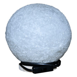 Küre Şekilli Doğal Kaya Tuzu Lambası Kablolu Ampullü Beyaz 7-8 Kg - Thumbnail