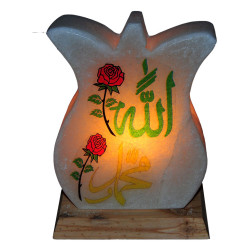 Lale Desenli Allah Muhammed Lafzı Logolu Doğal Kaya Tuzu Lambası Kablolu Ampullü Beyaz 2-3 Kg - Thumbnail