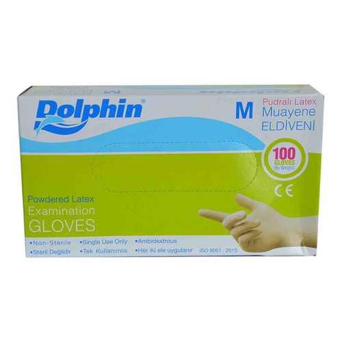 Pudralı Beyaz Latex Muayene Eldiveni Orta Boy (M) 100 Lü Paket