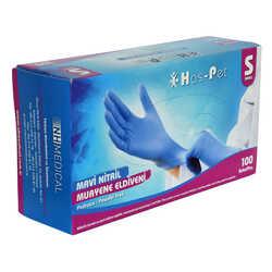Pudrasız Mavi Nitril Eldiven Küçük Boy (S) 100 Lü Paket - Thumbnail