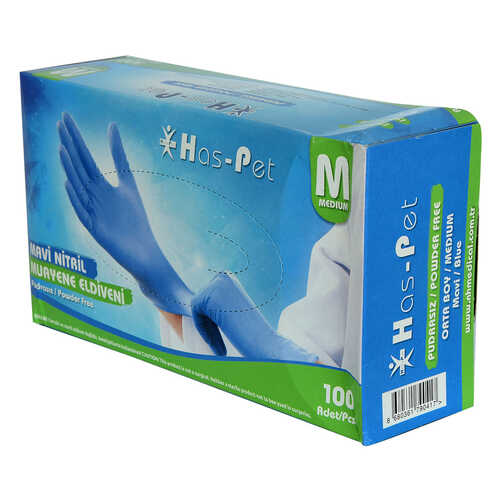Pudrasız Mavi Nitril Eldiven Orta Boy (M) 100 Lü Paket