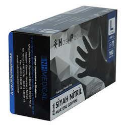 Pudrasız Siyah Nitril Eldiven Büyük Boy (L) 100 Lü Paket - Thumbnail