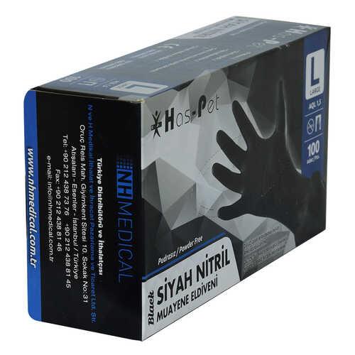 Pudrasız Siyah Nitril Eldiven Büyük Boy (L) 100 Lü Paket