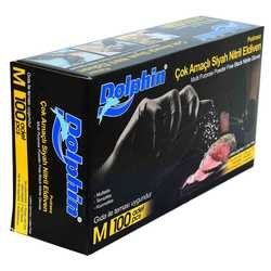 Dolphin - Pudrasız Siyah Nitril Eldiven Orta Boy (M) 100 Lü Paket Görseli