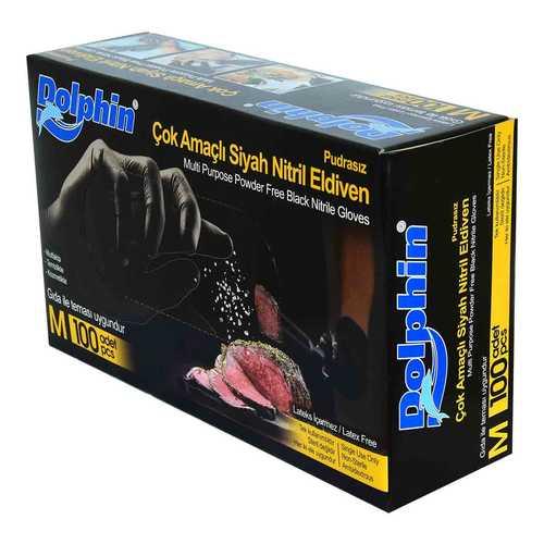 Pudrasız Siyah Nitril Eldiven Orta Boy (M) 100 Lü Paket
