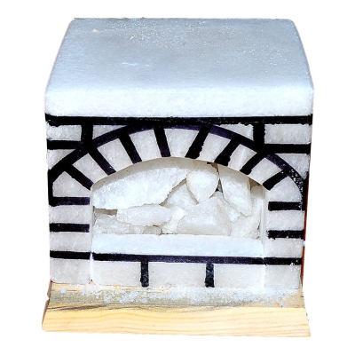 Şömine Şekilli Doğal Kaya Tuzu Lambası Kablolu Ampullü Beyaz 17 X 17 5-6 Kg