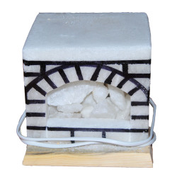 Şömine Şekilli Doğal Kaya Tuzu Lambası Kablolu Ampullü Beyaz 17 X 17 5-6 Kg - Thumbnail