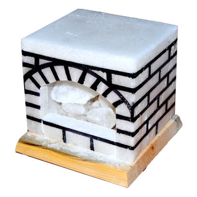 Şömine Şekilli Doğal Kaya Tuzu Lambası Kablolu Ampullü Beyaz 17 X 17