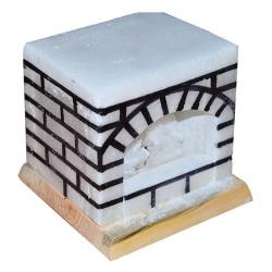 Şömine Şekilli Doğal Kaya Tuzu Lambası Kablolu Ampullü Beyaz 17 X 17 - Thumbnail
