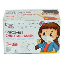 Kteks - Tek Kullanımlık Çocuk Yüz Maskesi Üç Katlı 50 Adet (10 Adet X 5 Paket) Görseli