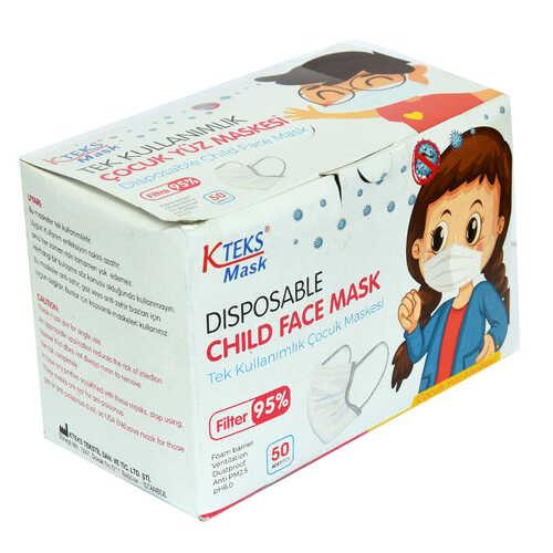 Tek Kullanımlık Çocuk Yüz Maskesi Üç Katlı 50 Adet (10 Adet X 5 Paket)