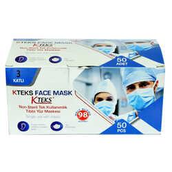 Kteks - Tek Kullanımlık Non Steril Tıbbi Yüz Maskesi Üç Katlı 50 Adet (10 Adet X 5 Paket) Görseli