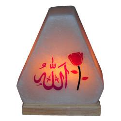 Üçgen Desenli Allah Lafzı Logolu Doğal Kaya Tuzu Lambası Kablolu Ampullü Beyaz 2-3 Kg - Thumbnail